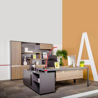 百思宜 简约风格办公文件柜经理桌老板桌文件柜组合 2*1.8*0.75米经理桌+2.4*0.4*2米文件柜