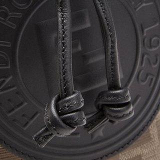 FENDI 芬迪 女士FF老花MON TRESOR系列黑色拼色织物(涂层除外)/牛皮单肩斜跨包 8BT298 A5KC F14TU