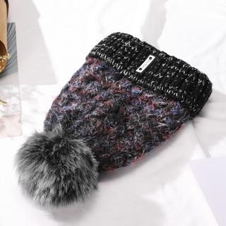 意大利袋鼠(L'ALPINA)帽子女冬天毛线帽女毛绒球针织帽青年简洁百搭护耳保暖毛球帽 黑色682141002