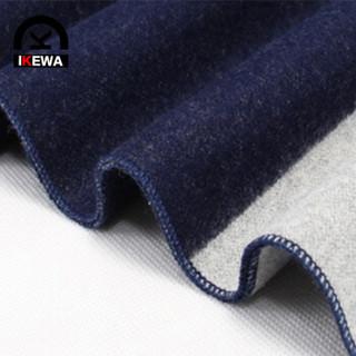 艾可娃 IKEWA WJ32围巾男士冬长款格子条纹保暖加厚冬季韩版男围脖 藏青色2