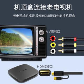 晶华 HDMI转3RCA转换线 高清数字机顶盒PS游戏机老式电视机投影仪AV三色莲花转换器连接线黑色3米 Z131H