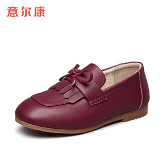 意尔康童鞋2019春秋新款女童皮鞋韩版流苏公主鞋平跟演出鞋子儿童单鞋ECZ9523832 酒红色 30