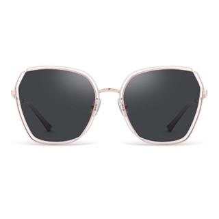 海俪恩19年墨镜新品 时尚偏光太阳镜 简约时尚唐嫣同款大框眼镜 N6727 白金框+灰紫色P22(偏光)