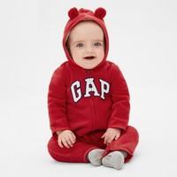 Gap婴儿可爱熊耳连帽连体衣秋季473853 一体式爬服
