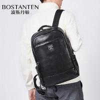 波斯丹顿 双肩包男 多功能PU休闲商务背包 15.4英寸