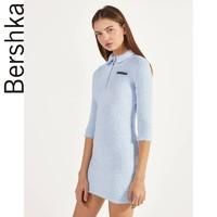 Bershka 00512492423 女士人造皮草针织连衣裙