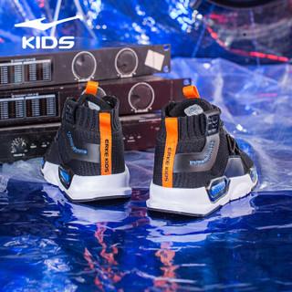 鸿星尔克(ERKE)童鞋男童大童秋冬常规跑鞋男童运动鞋 63119303060 正黑/彩蓝 31码