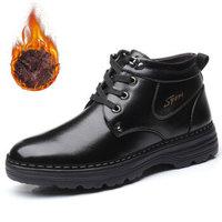 伊施玛雅(Ishmaiah)男士英伦系带正装保暖商务休闲中高帮加绒棉靴皮鞋子 7783 黑色 40