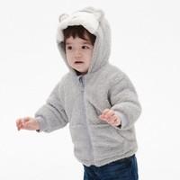 Gap婴儿珊瑚绒连帽棉服外套515341 可爱鲨鱼造型