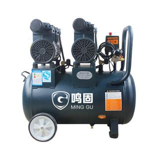 鸣固 无油空压机 220V无油大型静音空气压缩机维修木工钉枪打气泵 850W*2-50L(整机四件套+F30钉枪)