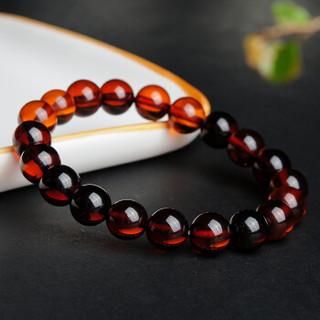 荔尚珠宝 血珀手链 酒红色琥珀圆珠手串单圈男女款9mm