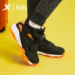 特步儿童篮球鞋运动鞋高帮19年新款男童中大童鞋球鞋 681415129116 黑桔 34