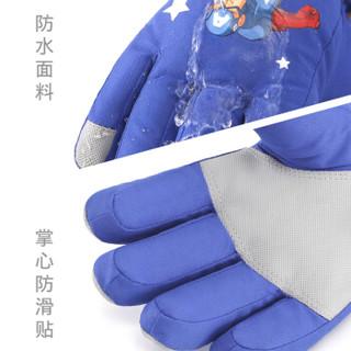 迪士尼儿童手套秋冬滑雪防水保暖男童学生小孩蜘蛛侠宝宝五指玩雪 HM70020美队蓝色 均码/适合7-10岁