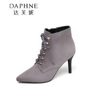 Daphne 达芙妮 女士细高跟系带短靴