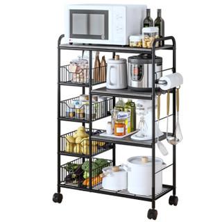 空间生活 厨房置物架 移动层架网篮收纳储物微波炉锅碗架WJM75110-4BK(8033-3)