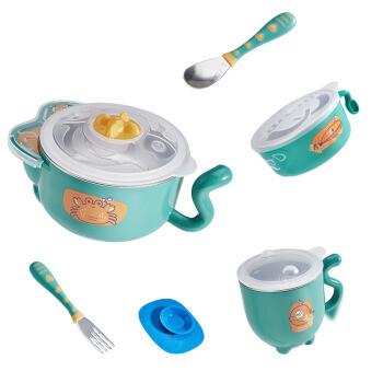 babycare 儿童餐具 婴儿注水保温碗 宝宝防摔碗吸盘碗辅食碗勺套装 雀湖绿316不锈钢