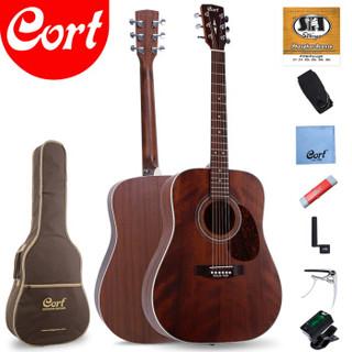 考特(CORT)Earth70MH单板民谣吉他41英寸初学者入门圆角桃花芯木