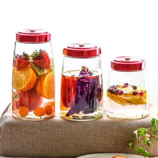 居元素 思密达集成阀玻璃酵素罐 1800ml 家用泡菜水果密封罐 储物泡酒发酵瓶 N98686002