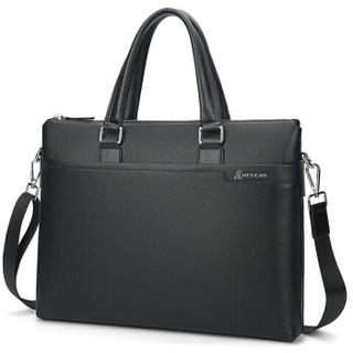 稻草人(MEXICAN)头层牛皮公文包潮流时尚男包休闲商务包包大容量横款手提包MMBD04190355BK01A黑色