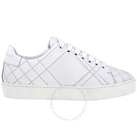 巴宝莉  女鞋Check Quilted Trainers 白色 皮革运动鞋