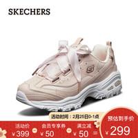 Skechers斯凯奇女鞋熊猫鞋 D'lites时尚蝴蝶结丝绸小白鞋老爹鞋 11976 浅粉色/LTPK 37.5