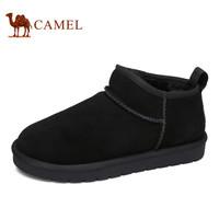 骆驼(CAMEL) 时尚短款加绒牛皮男雪地靴 A842275064 黑色 41