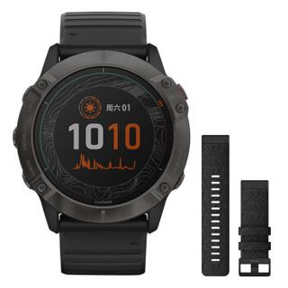 佳明(GARMIN)Fenix 6X Pro 太阳能钛合金DLC镀膜表圈GPS运动户外智能心率多功能跑步手表尼龙表带套装