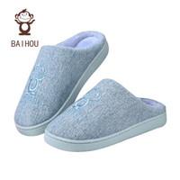 白猴  BAIHOU 可爱情侣柔软防滑耐磨  居家室内厚底保暖半包跟棉拖鞋 淡蓝色 38-39