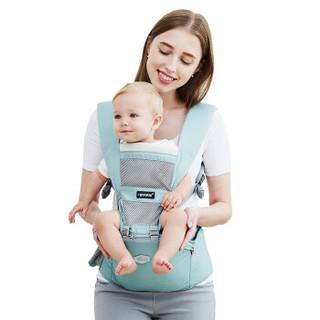 贝斯熊婴儿背带腰凳夏季透气儿童背婴袋妈咪包双肩书包前抱式坐凳四季通用 BS8101青绿