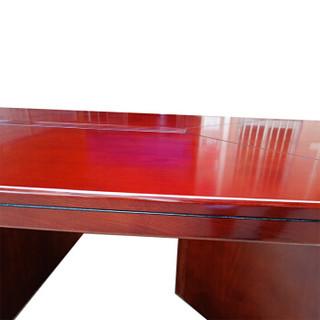 理邦会议桌实木贴皮会议台洽谈台红棕色4800*1800*760