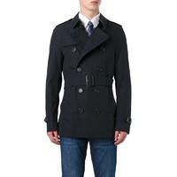 BURBERRY博柏利 男士双排扣翻领长款风衣外套 深蓝色
