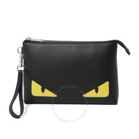 Fendi Men's Black Leather Bag Bugs Eyes Pouch