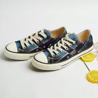 回力/Warrior 回力低帮帆布鞋印字涂鸦鞋男鞋新款潮鞋雾霾蓝运动休闲鞋板鞋  WXY-503 蓝色 37