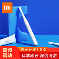小米(MI)电动牙刷软毛刷头家用声波震动成人充电式牙刷T100 小米电动牙刷T100 单只白色
