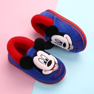 DISNEY  迪士尼儿童棉拖鞋 男童女童卡通舒适软底防滑包脚棉鞋  中童宝蓝210码  1646