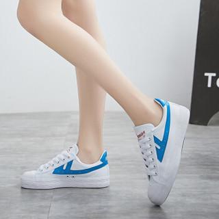 回力 Warrior 帆布男女情侣款休闲复古经典运动鞋 WB-1 金奖白蓝 37(偏大一码)