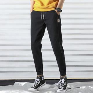 吉普盾牛仔裤男士修身哈伦小脚裤韩版潮流百搭帅气男装牛仔工装裤 黑色 36