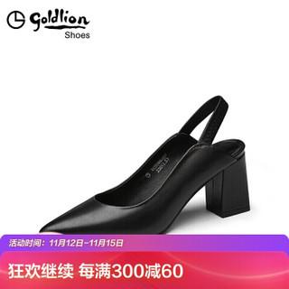 金利来(goldlion)女士尖头粗高跟浅口后空松紧带凉鞋61291005101P-黑色-37码
