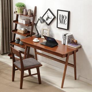 苏美特北欧实木书桌家用小户型办公桌带抽屉写字台现代简约台式笔记本电脑桌海棠色含椅子120*60*75