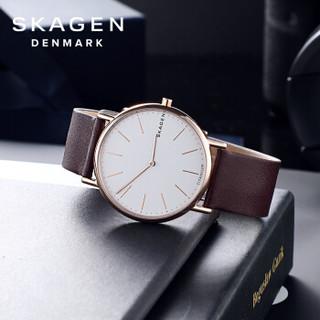 诗格恩(skagen)手表皮质表带时尚简约超薄欧美手表男学生石英复古腕表白盘SKW8600