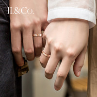 IL&CO R10486 玫瑰金色情侣钻石戒指