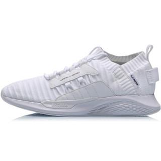 李宁 LI-NING 2019新品女子一体织减震回弹潮流休闲鞋AGLP072-3 标准白 37