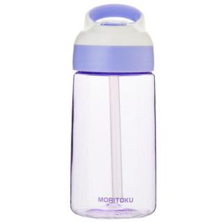 日本进口Moritoku儿童防漏吸管杯便携防摔塑料水杯学生幼儿园喝水杯子MTWBL-11高贵紫500ml