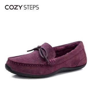 COZY STEPS 澳洲羊皮毛一体时尚保暖休闲家居豆豆鞋女6D013 葡萄紫色 36