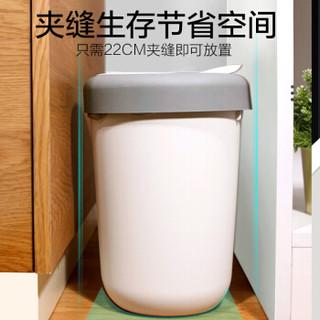 宝家洁 带盖家用挂壁两用垃圾分类桶客厅卧室卫生间有盖厨房桌面干湿分离垃圾收纳箱8L