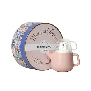 MORITOKU陶瓷马克杯玻璃杯日系卡通动物泡茶水壶杯子礼盒套装 粉小鹿 MTPOB-02