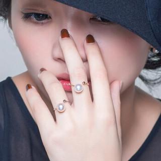 南珠宫 爱尚海水珍珠戒指18K金白色正圆强光活口戒指女款送妈妈 金色 9-9.5mm