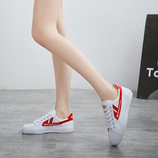 回力 Warrior 帆布男女情侣款休闲复古经典运动鞋 WB-1 金奖白红 38(偏大一码)