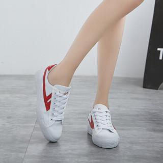 回力 Warrior 帆布男女情侣款休闲复古经典运动鞋 WB-1 白红 37(偏大一码)