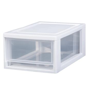 IRIS 爱丽思 4905009793617 可叠加塑料抽屉式收纳箱 17x29.5x10.7cm 透明/白